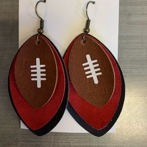 Jewelry - Red & black football faux leather earrings